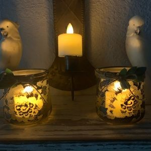 Lacey glass votive holders